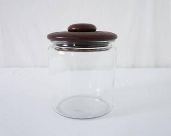 Vintage Large Glass Cookie Jar with Teak Lid