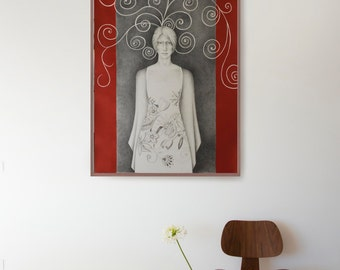 Ella-Original Fine Art female Drawing - Spring - Pencil / charcoal on acid free paper 300 gr-Large size-Flowers/floral/geometric/circles