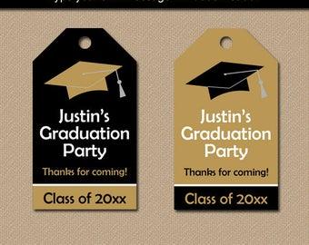 Graduation Tags, Graduation Template, 2018 Graduation Thank You Tag, Black and Gold Graduation Hang Tags, Boy Graduation, Girl Graduation G1
