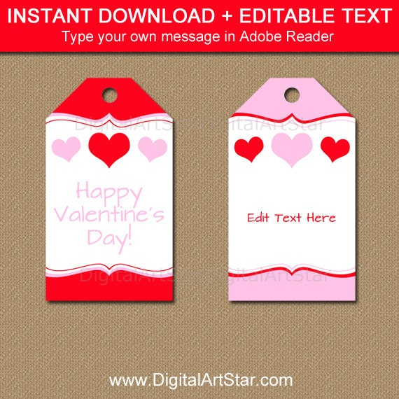Printable Valentines Day Gift Tag Template Red And Pink Heart Gift