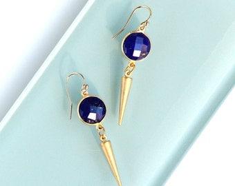 Lapis Lazuli Earrings, Gold Spike Drops, Cobalt Blue, Dangle