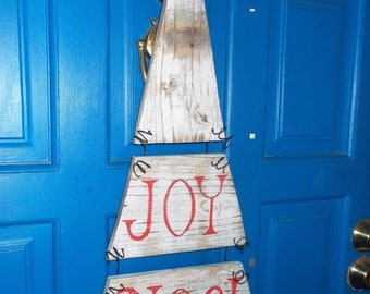 Holiday Door Hanger, Noel, Joy Sign, Holiday Door wreath, Christmas sign, Rustic Christmas Sign, Christmas Decoration, Holiday Wall Hanging