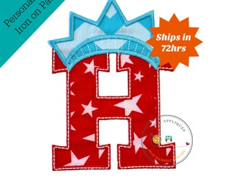 Star spangle inital letter H iron on applique, Patriotic monogram embroidered patch, Liberty letter H July 4th holiday monogram, 4th of july