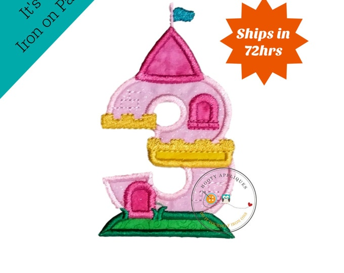Princess castle birthday number three machine embroidered patch, fast shipping iron on girl birthday applique, Pink and yellow number 3