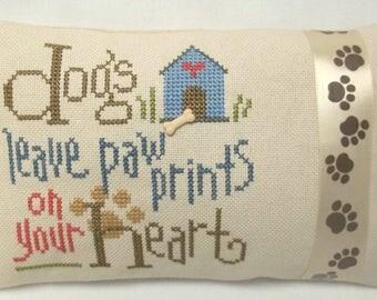 Dogs Leave Paw Prints Cross Stitch Mini Pillow Shelf Pillow