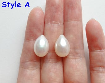 A grade Half Top drilled White Freshwater Pearl Drops 9-9.5 mm One Pair Perfect for Earrings K5930