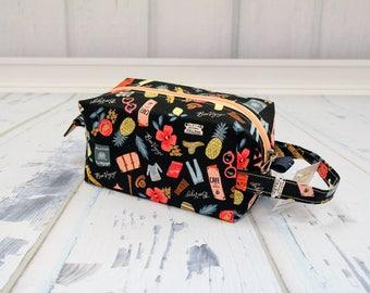 Riffle paper co travel fabric Small boxy bag, Knitting Boxy Project Bag,Knitting Project Bag. Sock Knitting bag.Crochet bag,zippered box bag