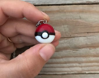 pokeball red glass pendant necklace
