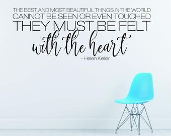 Helen Keller Felt With The Heart wall decal quote - Vinyl Wall Words
