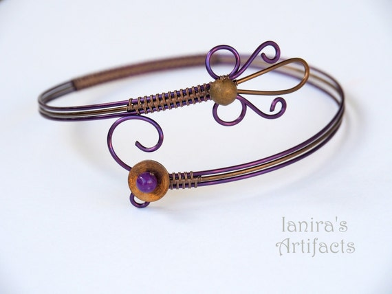 Purple arm cuff ~ Wire wrapped