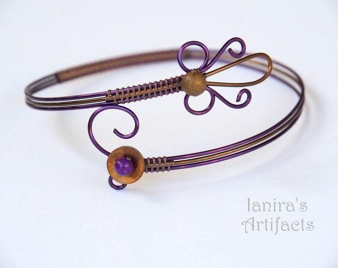 Purple arm cuff ~ Wire wrapped