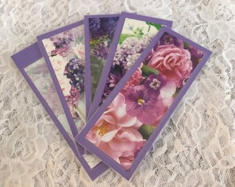 Purple, Floral Bookmarks, Journal Markers, Page Markers, Grandparent's Day, Teacher's Appreciation Gift - Set of 5