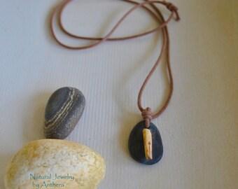 Organic jewelry - river stone - unique necklace - zen - yoga accessory- eco friendly