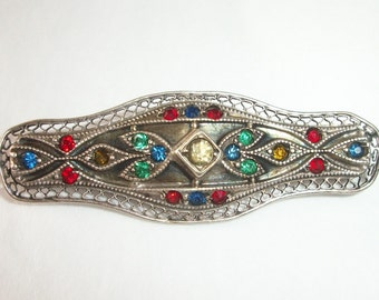 Gorgeous Brooch ~ Sterling Silver with Stone  ~ Antique Fine Jewelry  ~ Late 1800's Early 1900's~ Sapphire Blue ~ Ruby Red ~ Emerald Green