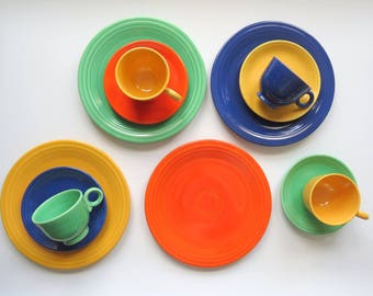Vintage Fiesta Dinnerware Set // Original Colors Service for Four Dinner Plates, Teacups, and Saucers Art Deco Colorful China Homer Laughlin