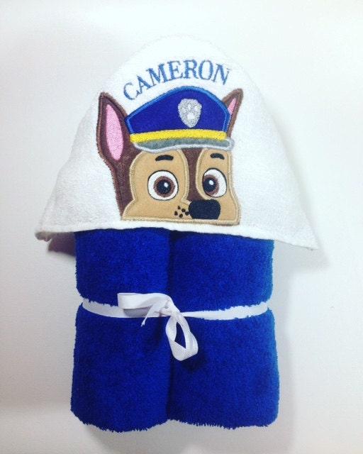 Personalized Paw Patrol Beach Towel: Paw Patrol Hooded Bath Towel Chase Hooded Towel Police Dog