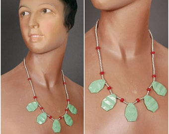20s 30s ART DECO NECKLACE jade green glass red chrome repro  1930 1920