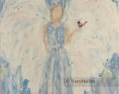 Angel of Hope Comfort with Redbird Cardinal Guardian Angel Painting Art Canvas 11 x 14