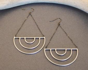 Visions sterling silver half circle earrings- geometric, modern, minimalist art deco inspired statement earrings