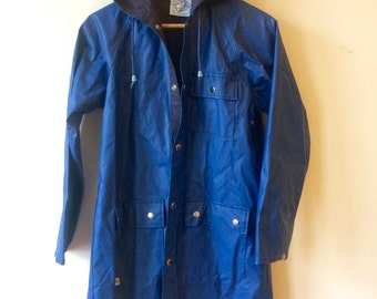 Vintage Blue Vinyl Raincoat / Rainjacket Womens Small, Youth Size 16