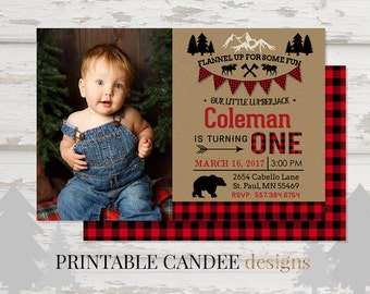 Lumberjack Birthday Invitation, Lumberjack First Birthday Party Invitation, Buffalo Plaid Party, Woodland Bear Invitation