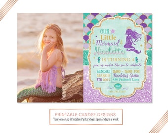 Mermaid Invitation Mermaid Birthday Invitation Teal Purple Gold Mermaid Invitation Under The Sea Invitation Mermaid Birthday Party