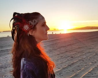Feather Headband Headpiece - Fire Engine Red - Festival Wear Inspired By Burning Man