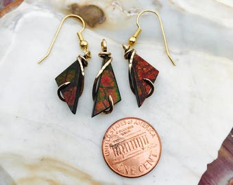 Ammolite Gold Wrapped Pendant Earrings
