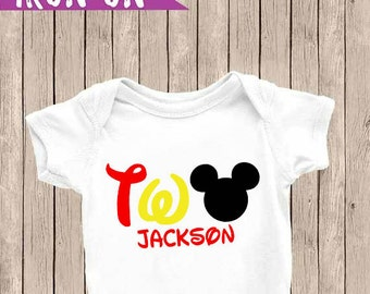 Personalized Two Birthday Outfit, Two Onesie, Mickey Mouse Onesie, Second Birthday Iron-On, Birthday Iron On