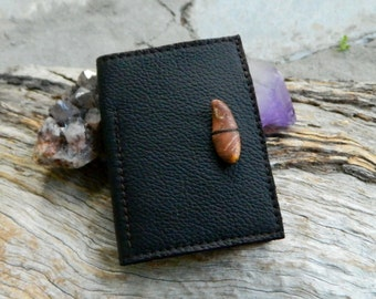 Leather Minimalist Wallet Christmas Gift Recycled Leather Card Holder Brown with Australian Ocean Pebbles