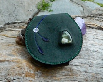 Medicine Pouch Set of Stones Australian Prase, Tiger Eye and Clear Quartz OOAK by Ariom Designs