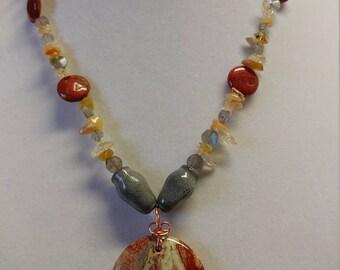 Red jasper, citrine, labradorite, and gray porcelain necklace