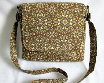 Large messenger bag- Light brown, blue, green and white medallion print cotton