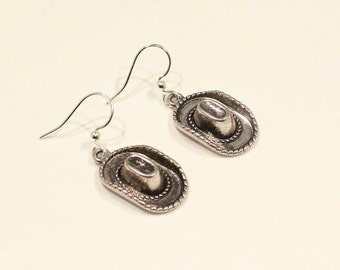 Cowgirl Earrings - Cowgirl Hat Charm -Western Earrings -Western Jewelry - Cowgirl Jewelry - Cowgirl Gift  - Cowgirl Hat Jewelry Hat Earrings