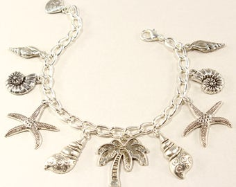 Beach Charm Bracelet Sea Shell Bracelet Palm Tree  Beach Jewelry Starfish Bracelet Love the Beach Gift Beach Gift Silver Starfish  Bracelet