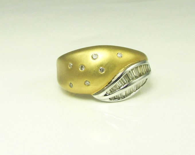 White and Yellow Gold Diamond Band Ring; Alternative Wedding Band Ring; Satin Finish Band Ring with Diamonds; Two Tone Diamond Ring