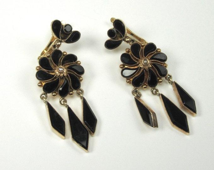 Yellow Gold Black Onyx Victorian Earrings; Black Onyx Drop/Dangle Earrings; Antique Dangle Earrings; Antique Drop Earrings; Onyx Earrings