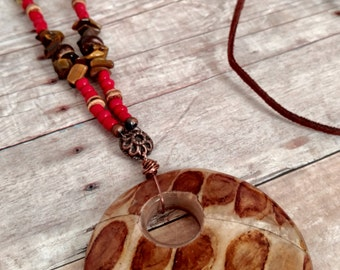 Wood necklace - red necklace - long necklace - suede necklace - circle pendant - copper necklace - statement necklace - fall color necklace