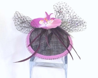 Orchid Fascinator - Party Fascinator - Tea Party Hat - Kentucky Derby Hat - Purple Fascinator - Flower Hat - Fashion Hat - Hair Accessory