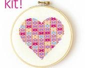 Modern Cross Stitch Kit, DIY Kit, Embroidery Kit, Patchwork Heart in Pink and Purple, Beginner Cross Stitch Pattern, Nursery Decor