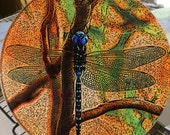 Round Glass Cutting Board - Blue Dragonfly  -  8 inch