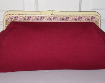 ROGER GIMBEL ACCESSORIES // Burgundy Red Floral Frame Clutch Vintage Purse Flowers Purple Pink Spring 70's Hippie Woodstock Hong Kong