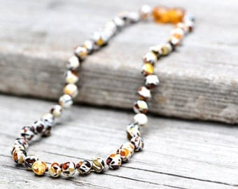 Mosaic Baltic amber teething necklace