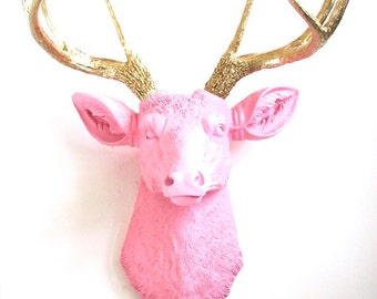LITE PINK with GOLD Faux Taxidermy Deer Head wall mount wall hanging home decor:  Deerman in light pink with glistening gold antlers