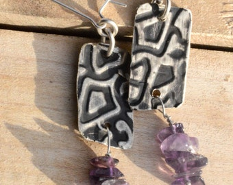 Amethyst Gemstone Nuggets Embossed Eco Friendly Recycle Solid Sterling Silver 925 .925 Drop Dangle Earrings Statement Rustic Baroque Boho
