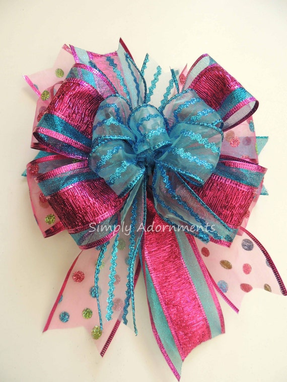 Whimsical Pink Turquoise Swag Bow Funky Fuchsia Turquoise Wreath Bow Blue Pink Handmade Gift Basket Bow Tree Topper Bow Funky Lantern Bow