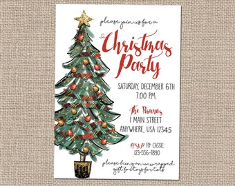 Christmas Party Invitation- Christmas Tree Invite-Xmas Invite-Christmas Invitation- Tree Trimming Party