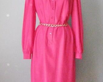 Fuchsia Shirt Dress / Vtg 70s / Schrader Sport Hot Pink Tunic Dress / Buttondown Dress