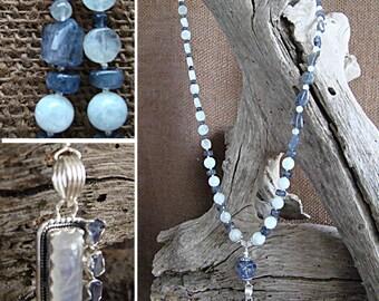 Tanzanite and Rainbow Moonstone Necklace