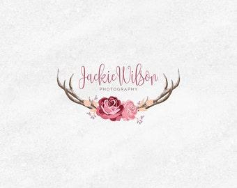 Premade Logo Kit, Floral Deer Logo, Rustic Logo Design, Watercolor Logo Design, Boutique Logo, Premade Logo, Business Card, Logo Watermark